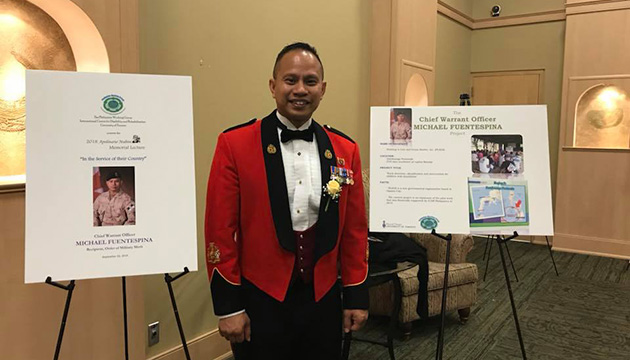 On September 22, Chief Warrant Officer Mike Fuentespina was recognized by the University of Toronto - International Centre for Disability and Rehab (ICDR), Philippine Working Group for advocacy for the disabled.