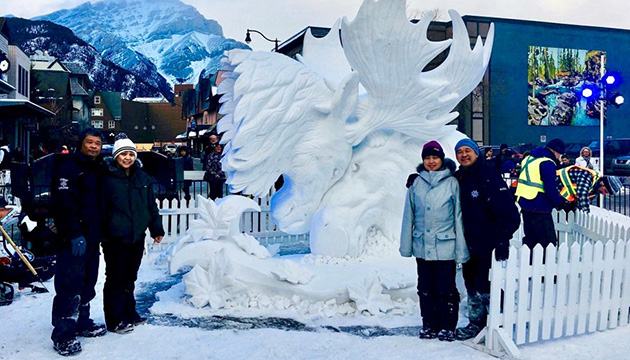 Baisas brothers and spouses win snow sculpting contest in Alberta