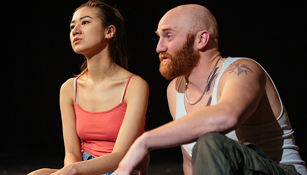 In Barlizo's LUCKY, Katharine King and Christian Jadah play main characters Nina, an over-achieving young Filipina, and Sylvain, a former skinhead haunted by his violent past. Photo by Tanja Tiziana.