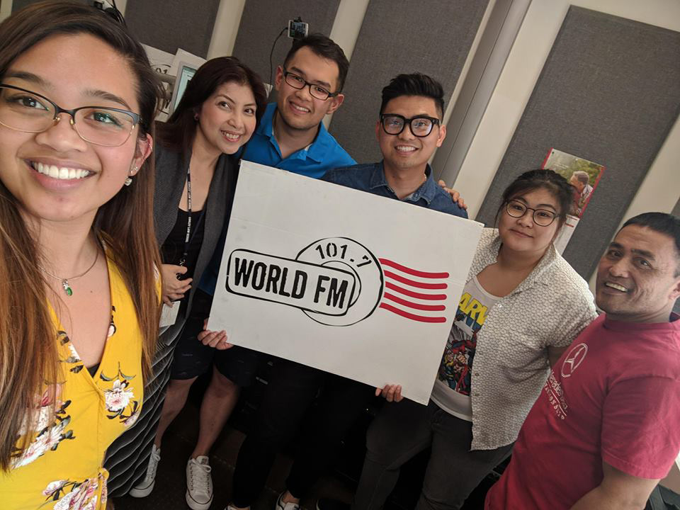 Members of Emma the Musical cast and musical director Erica Cawagas (second from right) visit radio station 101.7 on May 8, 2018. Photo from the musical's Facebook.