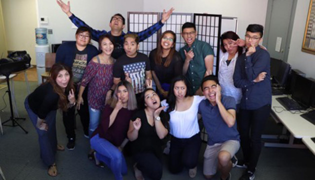 The cast of Emma the Musical hamming it up for the camera. On left standing is playwright Erica Cawagas. Photo from Emma the Musical's Facebook account.