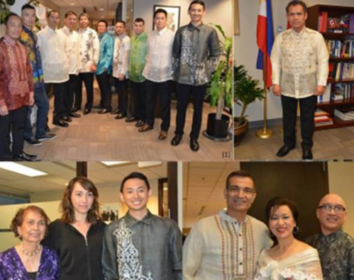 Clockwise from top left: Edwin Villalon of the consulate models a creation by Patis Tesoro; Hervee Tan in a modern Barong; Consul Rogelio Villanueva; Michaelangelo Dakudao (with bouquet) is joined  by Member of Parliament Joe Peschisolido, Consul General and Mrs. Neil Ferrer, members of the Anyone Can Act Theatre (ACAT), and models.