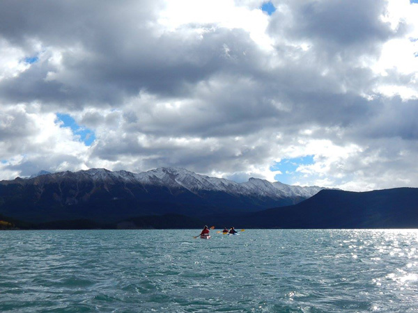 Overnight kayaking at Upper Kananaskis Lake in Alberta.